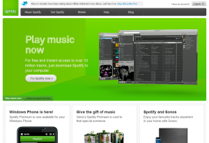 spotify mājas lapas ekrānuzņēmums