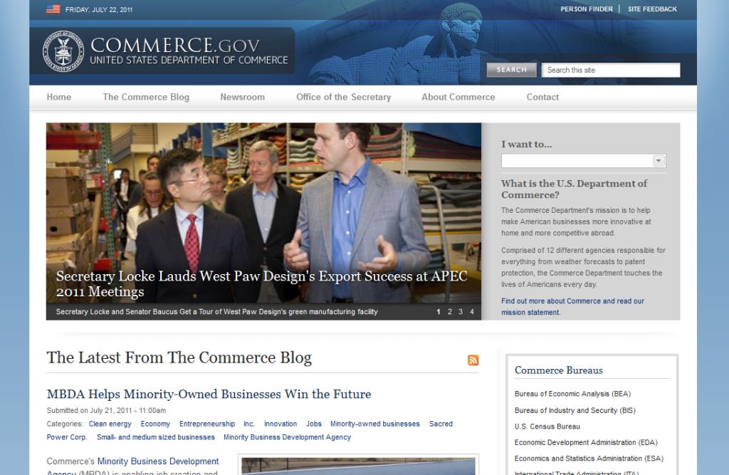 ASV tirdzniecības departamenta mājas lapa